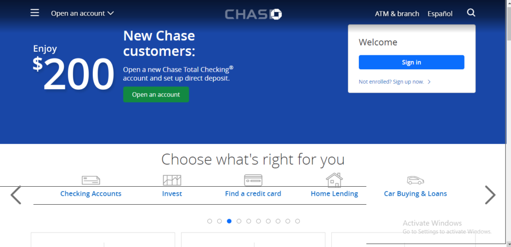 Chase bank sign up