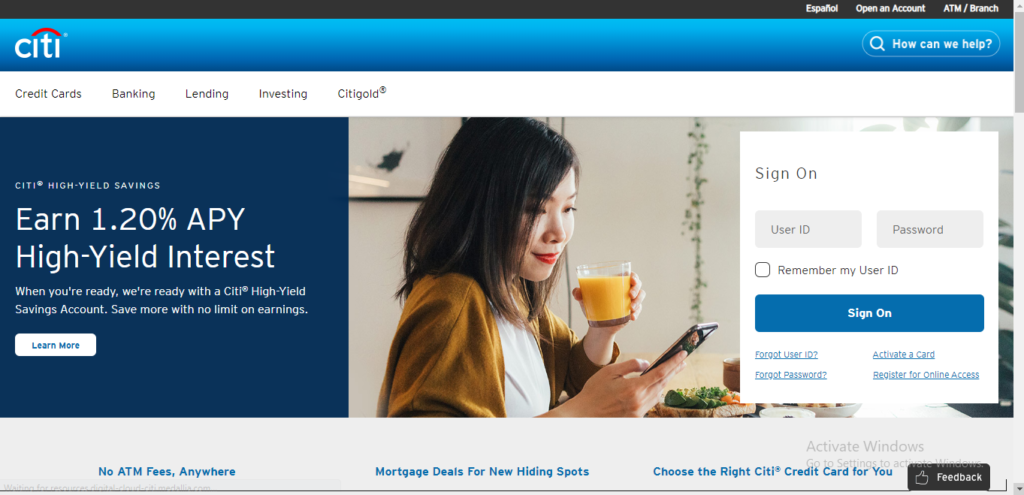 Log into citibank account online